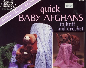 Quick Baby Afghans to Knit and Crochet from American School of Needlework, number 6018 | Craft Book