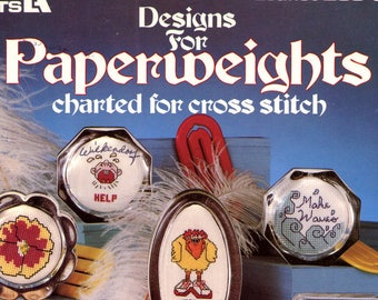 Designs for Paperweights charted for cross stitch from Leisure Arts (leaflet 203) | Craft Book
