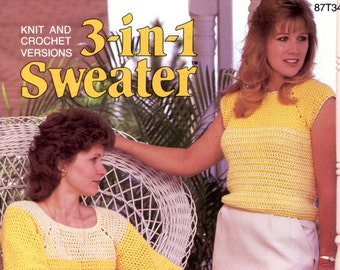 3-in-1 Sweater pattern in crochet and knitting from Annie's Attic | Craft Leaflet