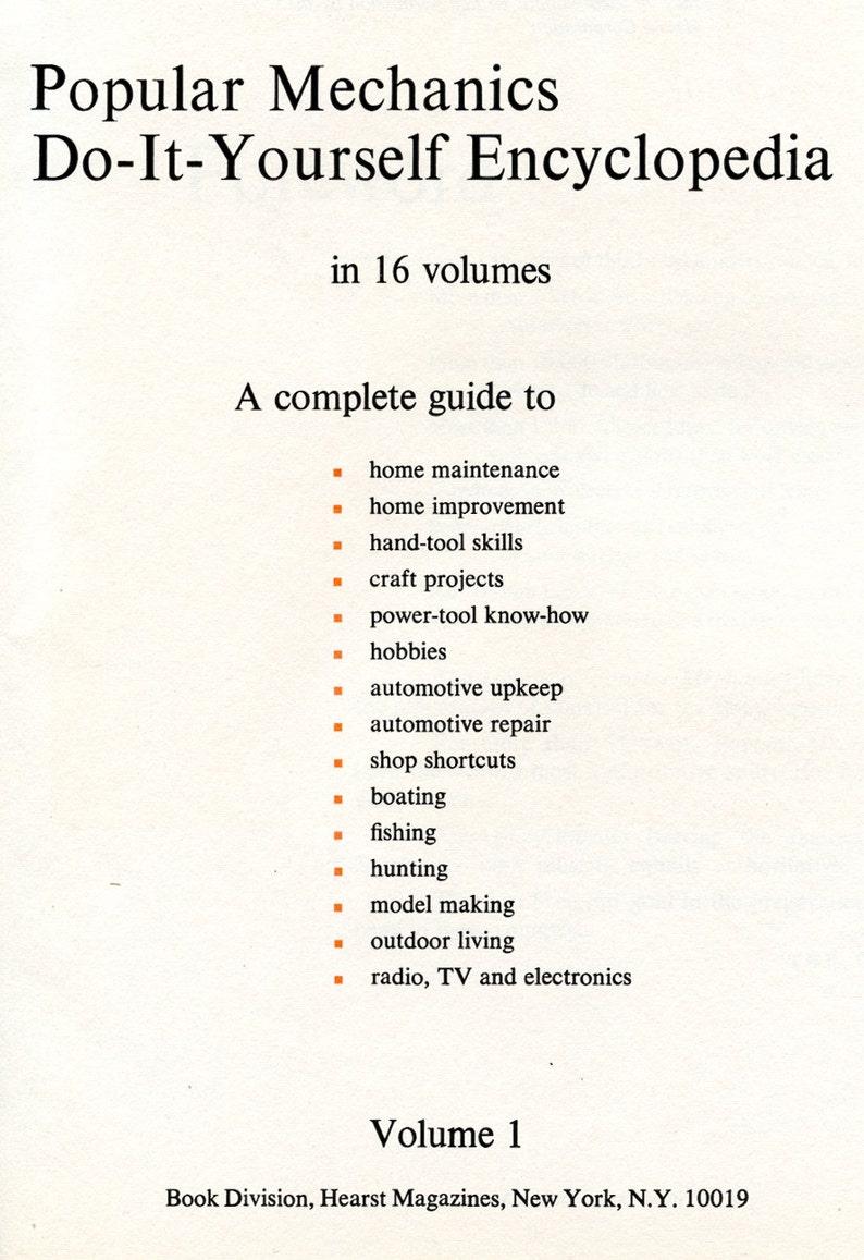 Popular Mechanics Do-It-Yourself Encyclopedia Volume I Craft ...