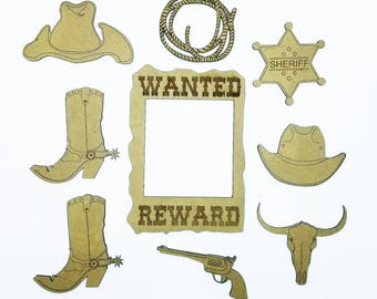 Cowboy Laser Cut and Engraved Chipboard 9 pieces FREE SHIPPING! in US