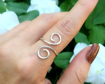 Sterling Silver Adjustable Ring, Swirl Ring, Everyday, Simple, Unique, Gypsy, Bohemian, Silver Thumb Ring, Sterling Silver Rings for Women