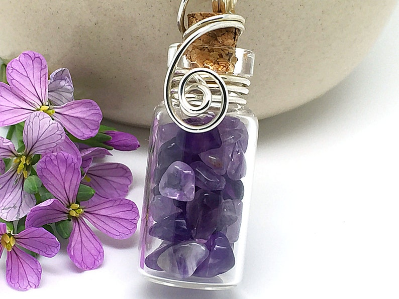 Natural Amethyst Jewelry Glass Jar Necklace Wire Wrapped Glass Bottle Sterling Silver Healing Crystals Amethyst Necklace Gem Pendant