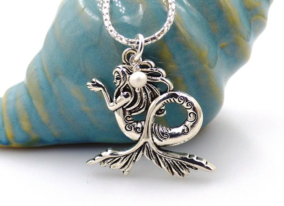 Sterling Silver Mermaid Charm   I/'d rather be a Mermaid   Mermaid Pendant Silver Mermaid Necklace  Beach Jewerly  Ocean  Gifts for Her
