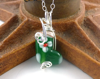 Christmas Stocking Necklace, Sterling Silver Holiday Pendant, Wire Wrapped Glass, Red, Green Lampwork Jewelry