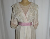 Ewardian Cream Silk Embroidered Gown with Mauve and Pink Trim