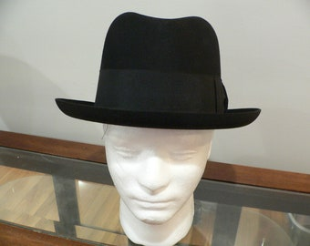 be8fdad92ea Hatters Homburg Hat Made in England for Brooks Brothers Black Fur Felt Size  7 1 4