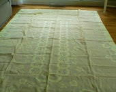 Banquet Size Madeira Appliqued Tablecloth and 12 Napkins Pale Yellow and White 120 x 66 Inches
