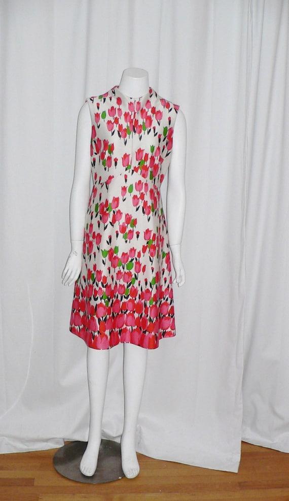 1970's  Polyester Emilio Borghese Tulip Dress - image 1