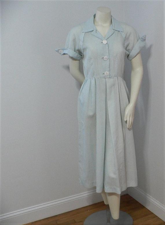 1940's 1950's Seersuckers Summer Dress , Waitress