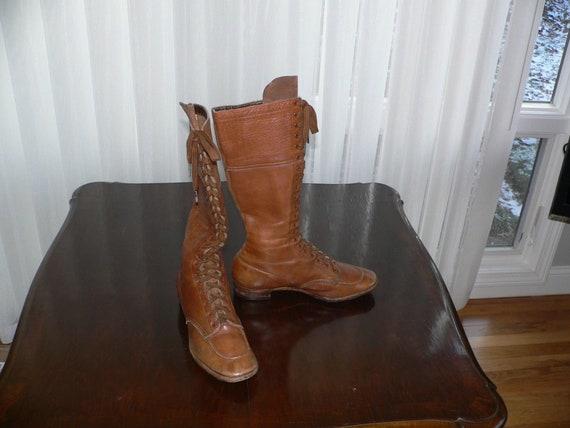 Antique Edwardian 1910-1920 Leather Boots , Motor