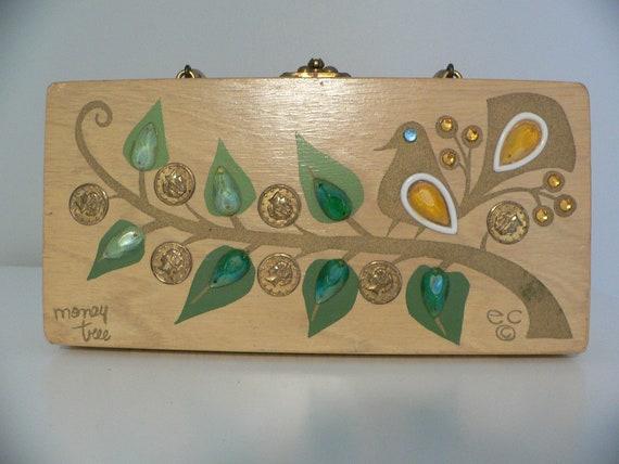 7d79f21395 Vintage Enid Collins Wood Box Purse Money Tree
