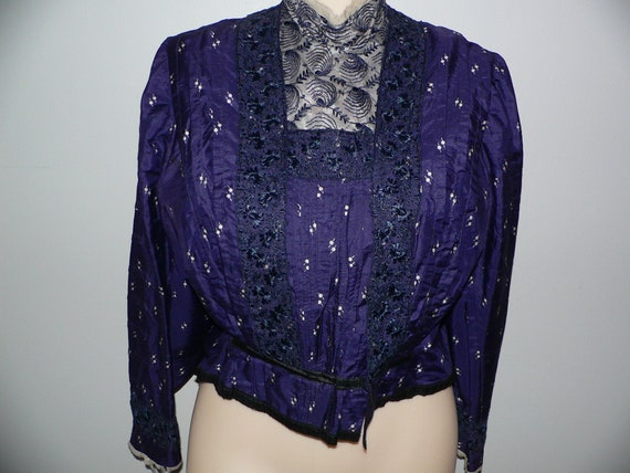 Antique Edwardian Silk Bodice with Pleats and Lace