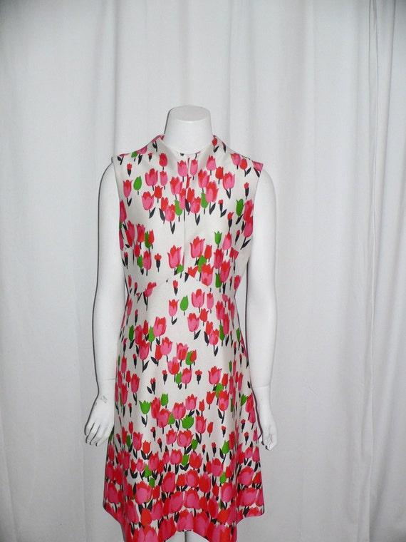 1970's  Polyester Emilio Borghese Tulip Dress - image 3