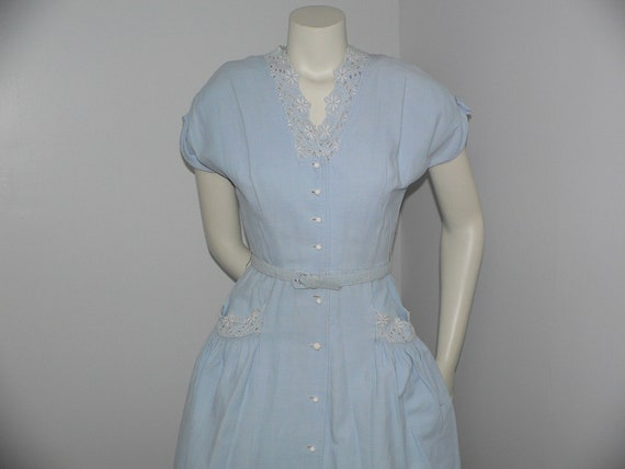 1940's Blue Pique Cotton Embroidered Summer Dress - image 2