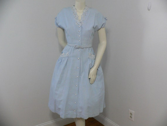 1940's Blue Pique Cotton Embroidered Summer Dress