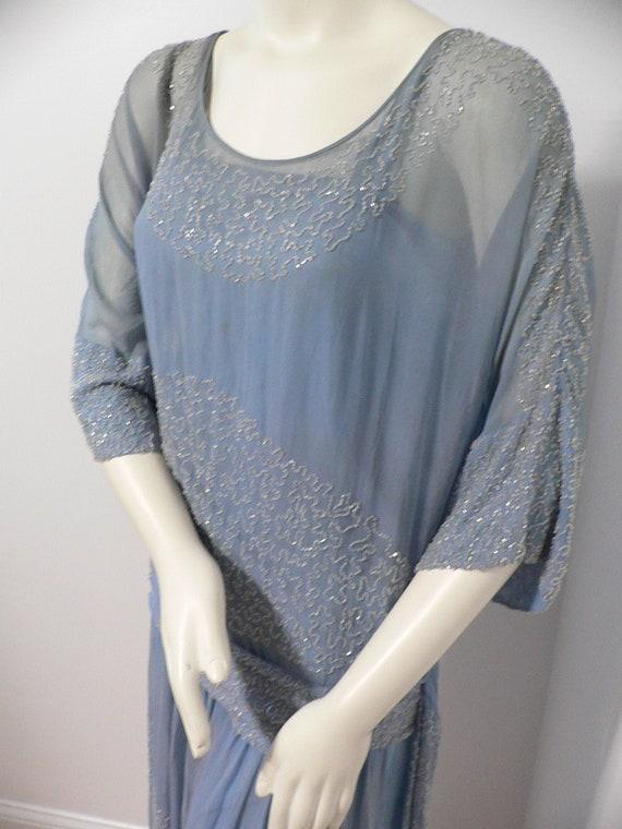 1920's Blue Silk Beaded Dress with Slip