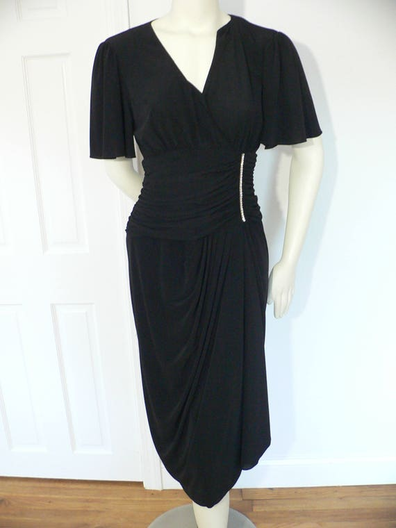 70s Does 40s Jersey Black Drape Dress with Rhinest