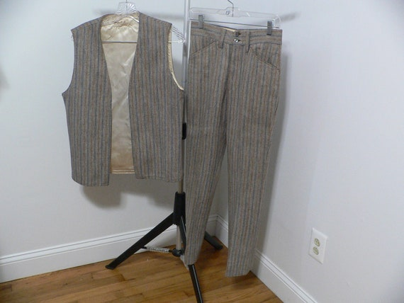 1970's Mens Mod Long Vest and Pants Suit By Arrow