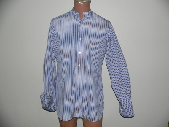 Vintage Collarless Striped Shirt by Webster Bother