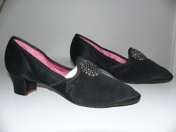 1930's  Boudoir Slippers Black Satin with Steel Cu