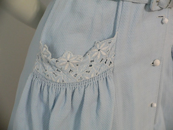 1940's Blue Pique Cotton Embroidered Summer Dress - image 9