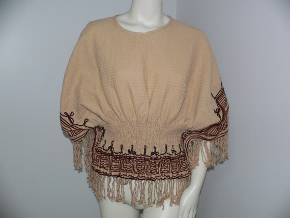 Vintage 1970's Poncho Top, Boho Braided Trimmed  F