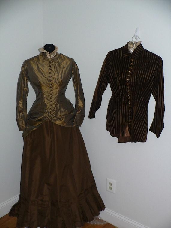 3 PC Antique 1880 Bustle Dress. 2 Bodices Brown Si