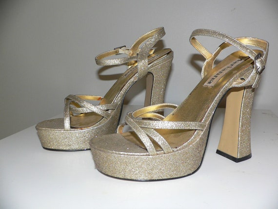 Vintage Gold Glitter Platform Shoes By Marianna. S
