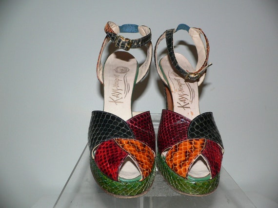 Vintage 1940's Peep Toe Platform Snakeskin Shoes K