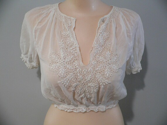 1920's Hungarian White on White Embroidered Blouse