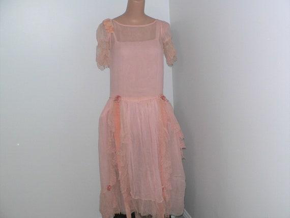 1920's  Robe de Style Pink Silk Chiffon Dress, 20s
