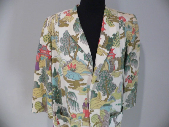 1950's Chinese Print Barkcloth Jacket /Blazer by G