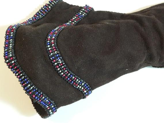1940's Dark Brown Suede Gauntlet Gloves w Beading - image 2