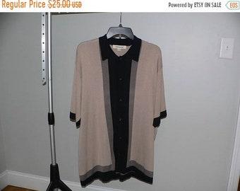 ON SALE Men's XL Tall Silk /Cotton Rockabilly Hipster Charlie Sheen Bowling Shirt