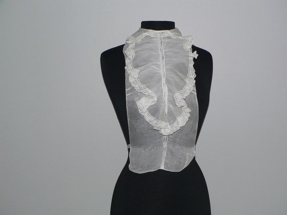 Antique Organdy Jabot Dickie Collar