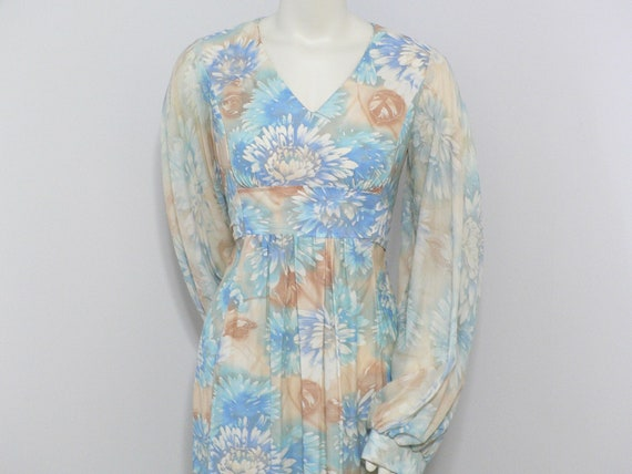 1960's -1970's Maxi Dress with Empire Waist and Bi