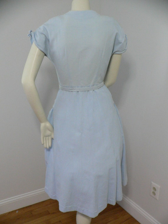 1940's Blue Pique Cotton Embroidered Summer Dress - image 8