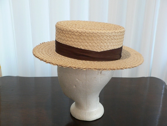 Vintage Straw Boater By Adam