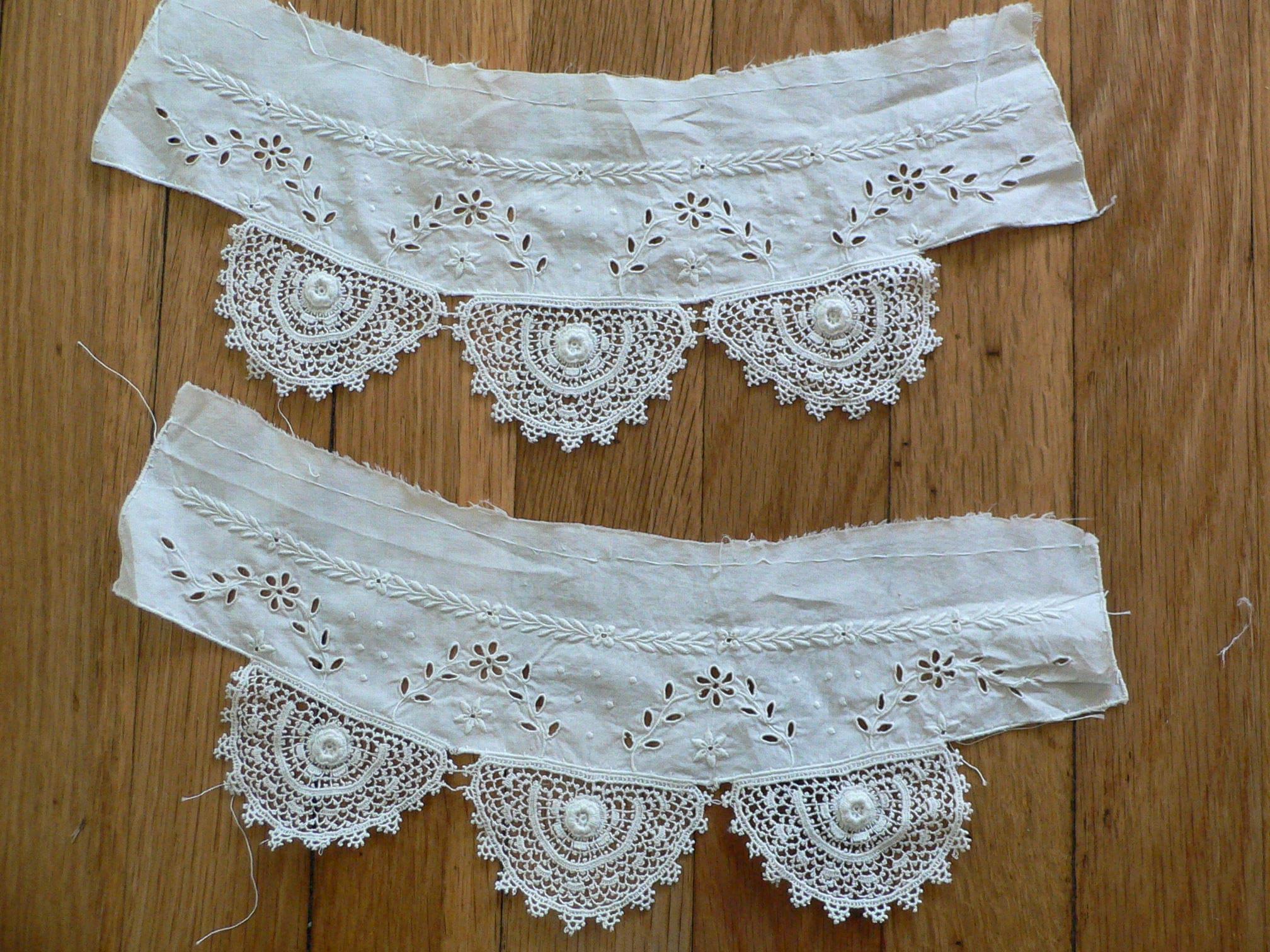 Crochet irlandais Schiffli antique en manchettes de de manchettes dentelle avec broderie pour des projets ou des vêtements de poupée 490c00
