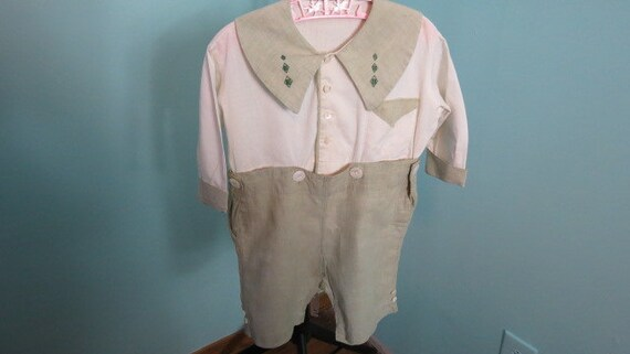 1920s - 1930s Boys Shorts Set /Romper with Pearl B