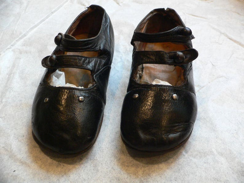 3b17c89580487 Antique 1900's Black Leather Mary Jane Baby Shoes