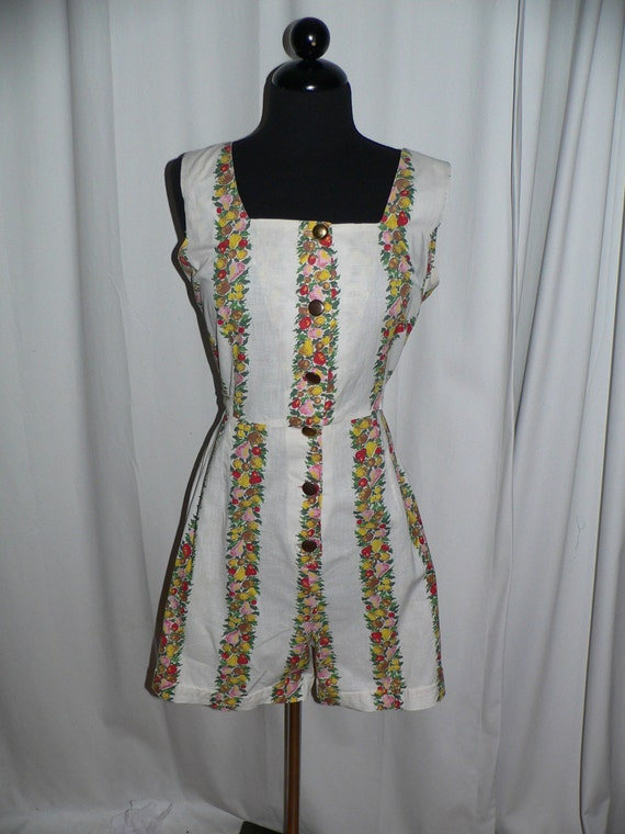1950's Romper and Matching Overskirt with Colorful