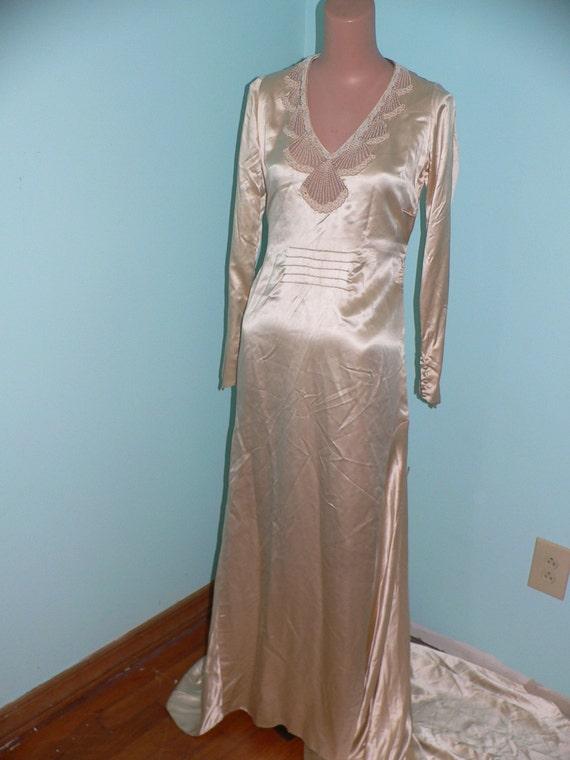 1930s Silk Charmeuse  Wedding Dress with Beaded Ne