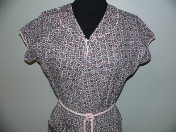1930's 40's Zipper Front Cotton Print House Dress