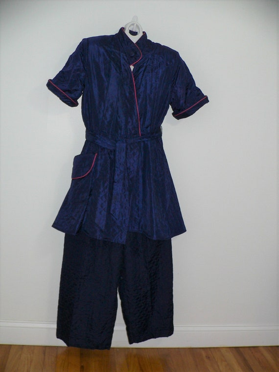 1940's Quilted Hostess PJ's, 40's Navy Quilted Lou