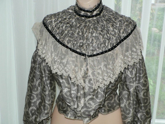 Edwardian Black and White Print Ruched Pleated Sil