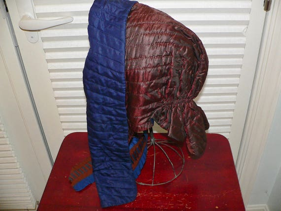 Antique 1850's 1860's Quilted Victorian Bonnet - image 1
