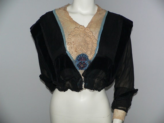 Edwardian Silk Bodice with Lace and Beaded Trims