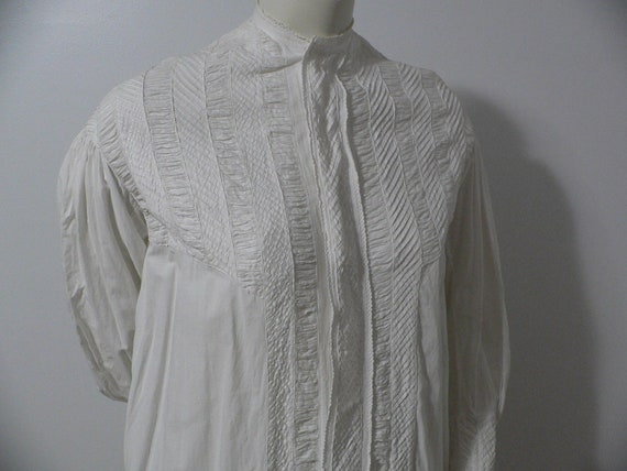 Victorian 1860s Cotton Nightgown with Ruching and